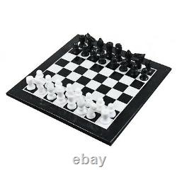 Marble Stone Chess Pieces & Board Set -Black and White 12 Minimalist Gift