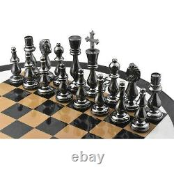 Minimalist Brass Metal Luxury Chess Pieces, Board and Table Set 21 tall