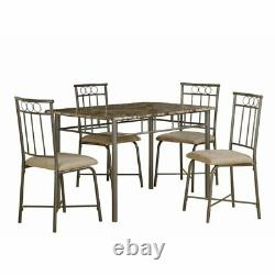 Monarch 5 Piece Faux Marble Top Dining Set in Cappuccino
