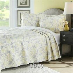 New full/queen 3 piece gray and yellow floral quilt set. Light weight-reversable
