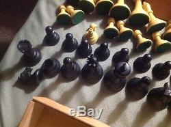 Old Crisloid DRUEKE CHESS PIECES WEIGHTED 35B FULL SET WithRare Pro PLAYING BOARD