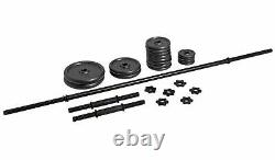 Opti Cast Iron Bar and Dumbbell Set 35kg Gym Weights 25 Pieces