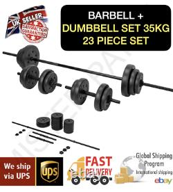 Opti Vinyl Barbell and Dumbbell Set 35kg Gym Weights 23 Pieces