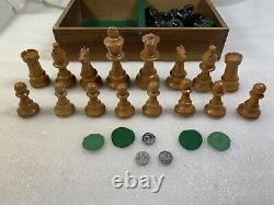 Rare Vintage Wood Weighted Chess Set Pieces Hand Carved WithBox -Missing one Piece