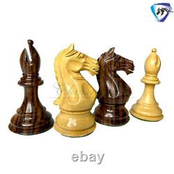 Rosewood Staunton Chess Pieces Set Fierce Knight 4 Weighted 2 extra queens