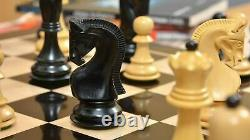Russian Zagreb Chess Pieces set King 3.9 in Ebonized Boxwood Weighted 4 Queens
