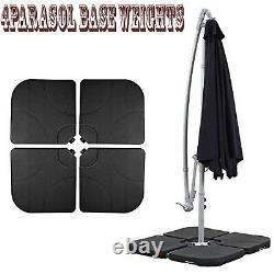 Set of 4 Piece Outdoor 22 kg Square Parasol Base Stand Sand Water Filled Weight