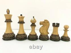 Staunton Burnt Rosewood Chess Pieces Set King4.4 Weighted CLUB VINTAGE
