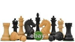 Staunton Ebony Wood Chess Pieces Set King 4.4 Luxury BRIDLE SERIES Weighted