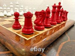 Staunton chess pieces set painted boxwood Weighted king 3.75 with 4 Queens-CNC