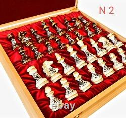 Stunning Wooden Chess Set-Weighted Pieces-Hand Painted Great Gift exclusive