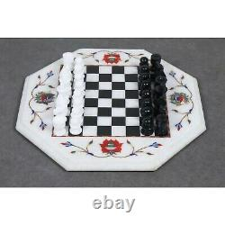 USED Marble Stone Chess Pieces & Board Set -Inlay Handcrafted Work- 12 board
