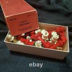 VINTAGE DRUEKE Chessmen Set No 23B CHESS PIECES Weighted Felted IVORY & RED
