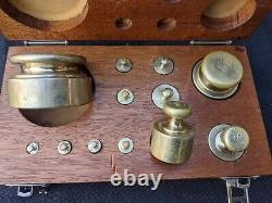Vintage 12 Piece Calibration Brass Scale Weight Set Timber Case 1g to 500g