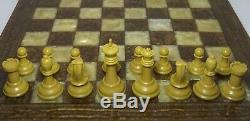 Vintage Drueke Chess Pieces Weighted 35b Full Set With Playing Board