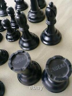 Vintage Drueke Chess Pieces Weighted Full Set Without Playing Board