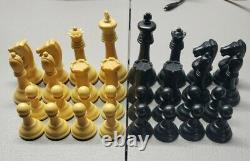 Vintage Drueke Simulated Wood Chess Pieces with Dovetail Box Weighted Set No. 36