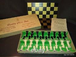 Vintage Drueken Chess Set No. 222 89A Weighted Magnetic Pieces And Board