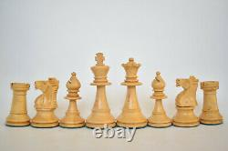 Vintage French Lardy Wooden Boxwood Weighted Chess Pieces Set Staunton King 80mm