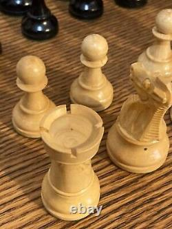 Vintage Set of Carved Wood Weighted Chess Pieces in Wooden Box Made in France