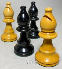 Vintage Staunton Carved Wood Chess Pieces Set Lardy 3.5 King Weighted Chessmen