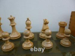Vintage Weighted Wooden Fierce Knight Staunton Style Chess Set Pieces in Box