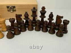 Vintage Wood Weighted Chess Set Pieces Hand Carved Storage Box W. Germany