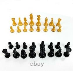 Vintage Wooden Chess Set in Wood Box with Chess Pieces Weighted Made in France