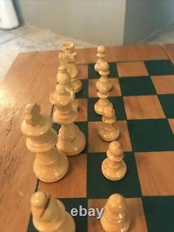 Vtg Drueke Wooden Chess Board Pieces Set Felted Weighted Checkers