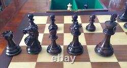 Wood House of Staunton Centurion chess set box 20 board pieces carved 3.5K HTF