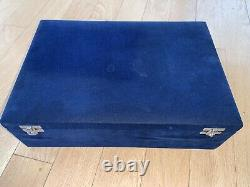 Wooden Chess Pieces Set PRO Triple Weighted in Blue Velvet Box Case Leather