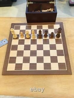 Wooden Chess Set11Inlaid Walnut & Maple Board32 Weighted & Felted Wood Pieces