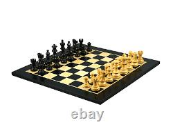 Wooden Chess Set Ebony Board 16 Weighted Ebonised Classic Staunton Pieces 3