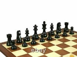 Wooden Chess Set Mahogany Board 16 Weighted Ebonised French Knight Pieces 3