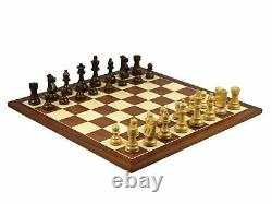 Wooden Chess Set Mahogany Board 16 Weighted French Knight Pieces 3