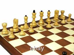 Wooden Chess Set Mahogany Board 20 Weighted Ebonised Zagreb Staunton Pieces 3.7