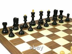 Wooden Chess Set Walnut Board 20 Weighted Ebonised Zagreb Staunton Pieces 3.75