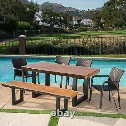 Zendaya Outdoor 6 Piece Wicker Dining Set with Light Weight Concrete Table and B