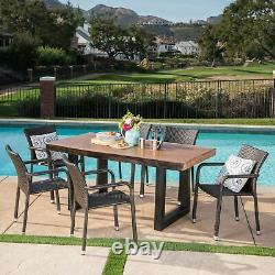 Zendaya Outdoor 7 Piece Wicker Dining Set with Light Weight Concrete Table